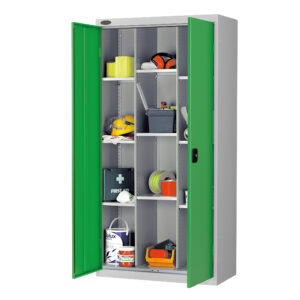 12 Compartment Cupboard with Green Doors H1780 x W915 x D460mm