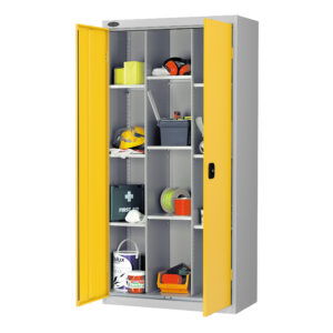 12 Compartment Cupboard with Yellow Doors H1780 x W915 x D460mm
