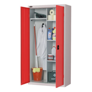 Cupboard Wardrobe with Red Doors H1780 x W915 x D460mm